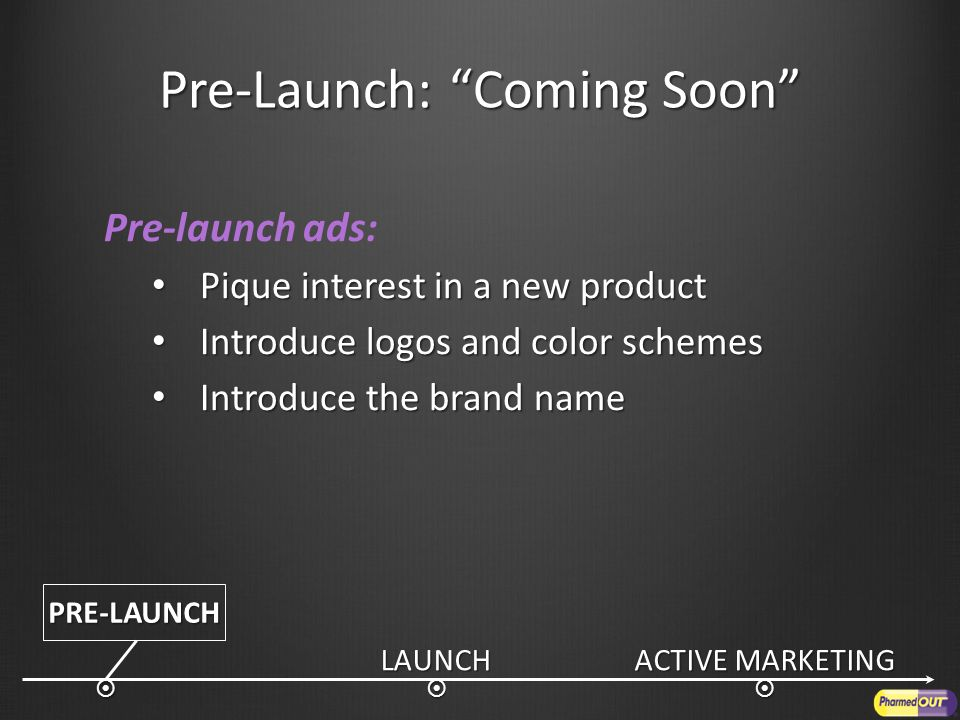 Pre-Launch: Coming Soon Pre-launch ads: Pique interest in a new product Pique interest in a new product Introduce logos and color schemes Introduce logos and color schemes Introduce the brand name Introduce the brand nameLAUNCH ACTIVE MARKETING  PRE-LAUNCH 