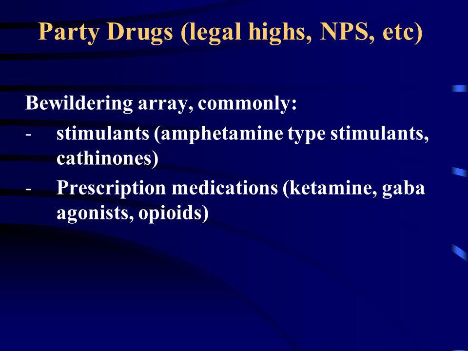 Party Drugs (legal highs, NPS, etc) Bewildering array, commonly: -stimulants (amphetamine type stimulants, cathinones) -Prescription medications (keta