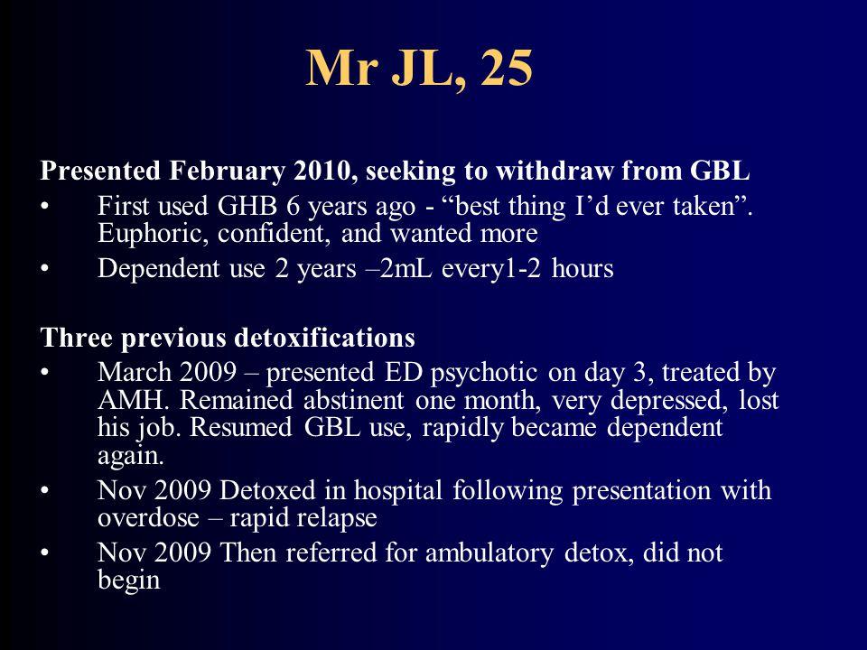 Mr JL – Medical events 2006-2009 ① Oct.