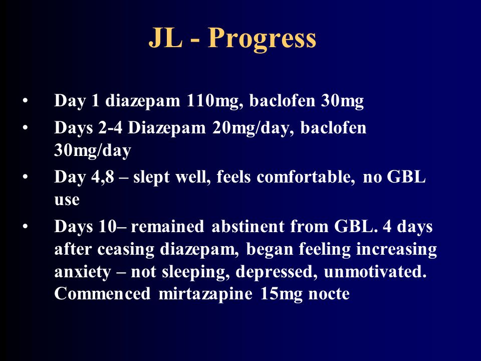 Progress II Day 15 – still difficulty sleeping, but more motivated, seeking work Day 21 DNA for appointment 2 months later – brief lapse(3 days) to GBL use.