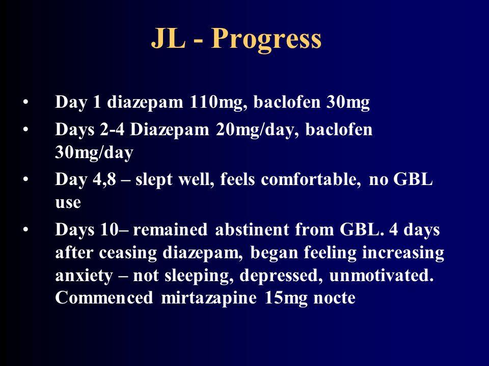 JL - Progress Day 1 diazepam 110mg, baclofen 30mg Days 2-4 Diazepam 20mg/day, baclofen 30mg/day Day 4,8 – slept well, feels comfortable, no GBL use Da