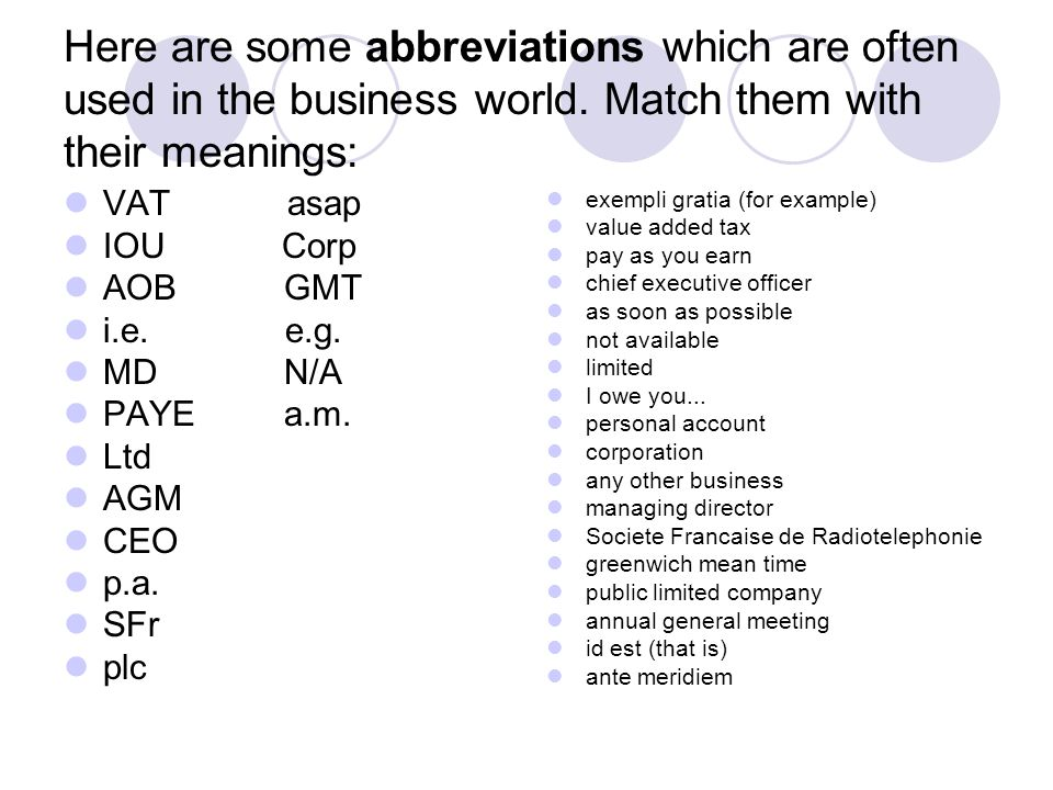 Here are some abbreviations which are often used in the business world. Match them with their meanings: VAT asap IOU Corp AOB GMT i.e. e.g. MD N/A PAY