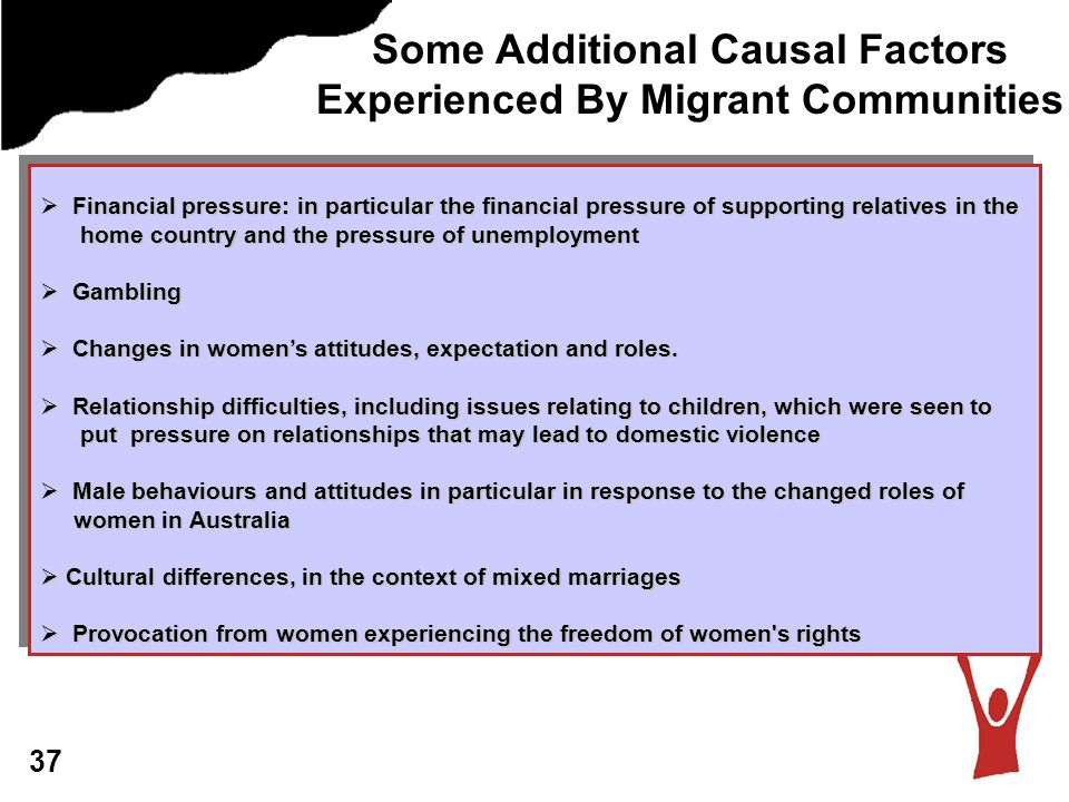 Some Additional Causal Factors Experienced By Migrant Communities  Financial pressure: in particular the financial pressure of supporting relatives in the home country and the pressure of unemployment home country and the pressure of unemployment  Gambling  Changes in women's attitudes, expectation and roles.