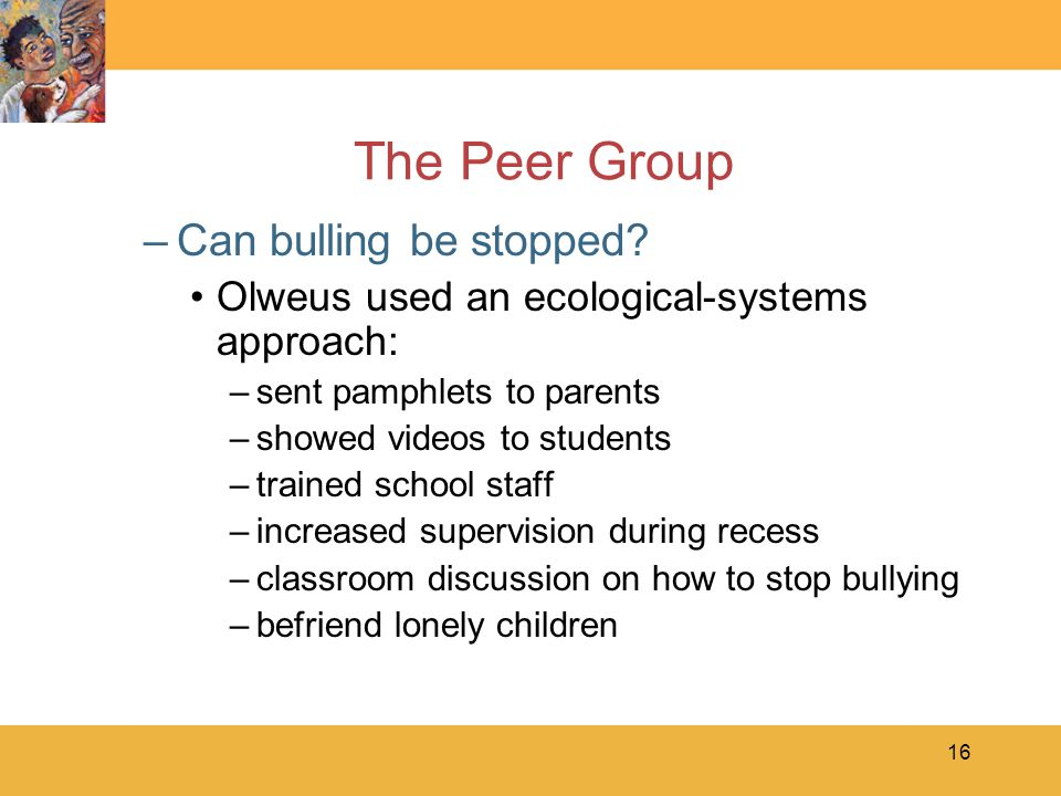 16 The Peer Group –Can bulling be stopped.