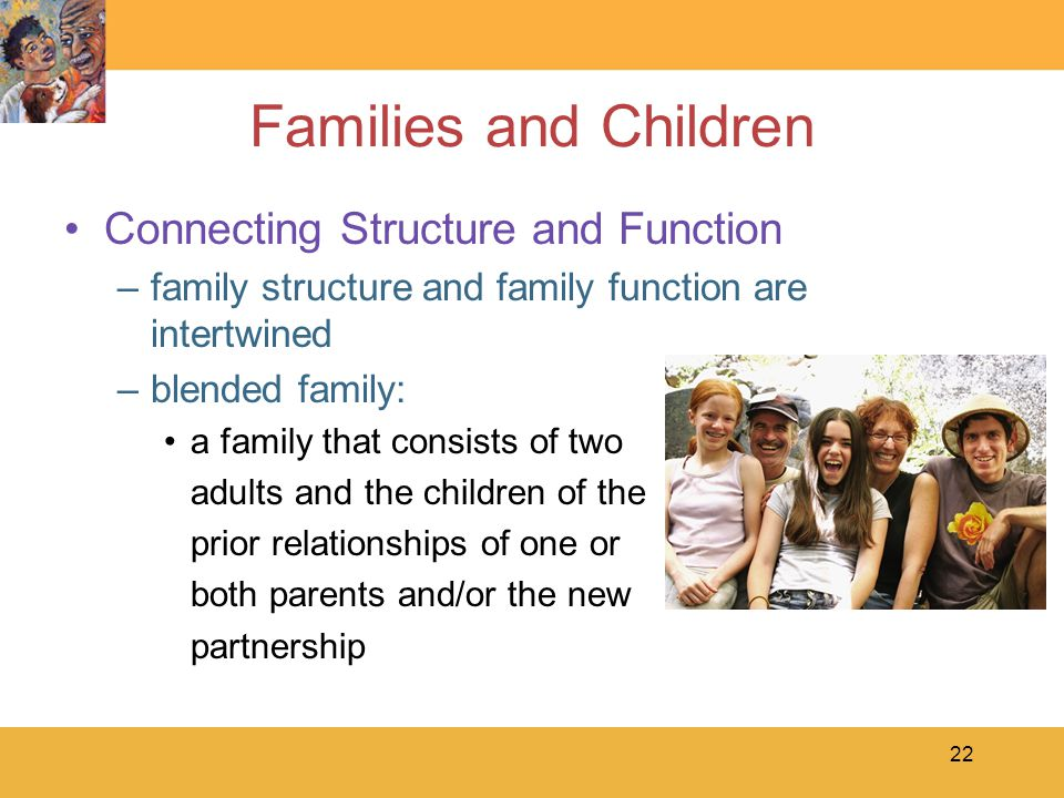 22 Families and Children Connecting Structure and Function –family structure and family function are intertwined –blended family: a family that consists of two adults and the children of the prior relationships of one or both parents and/or the new partnership