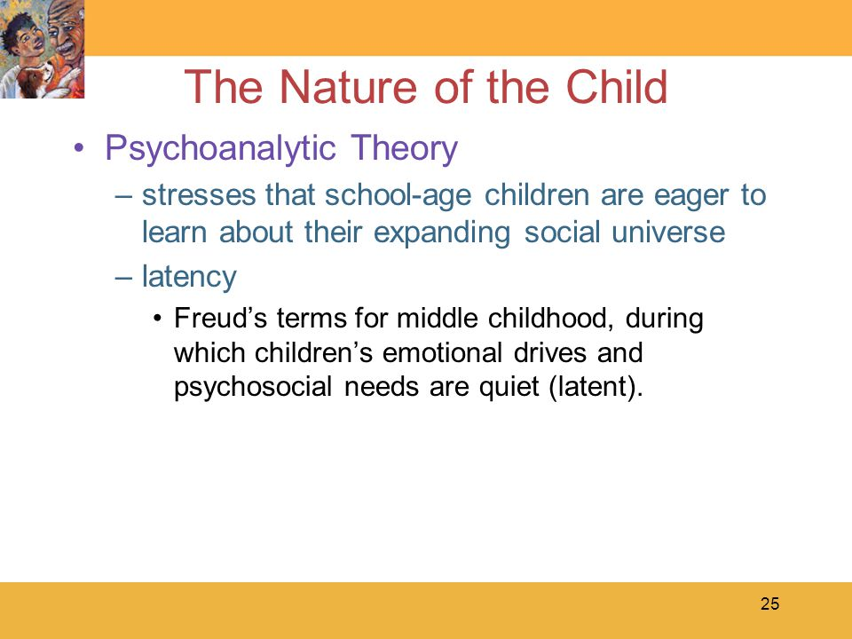 25 The Nature of the Child Psychoanalytic Theory –stresses that school-age children are eager to learn about their expanding social universe –latency Freud's terms for middle childhood, during which children's emotional drives and psychosocial needs are quiet (latent).
