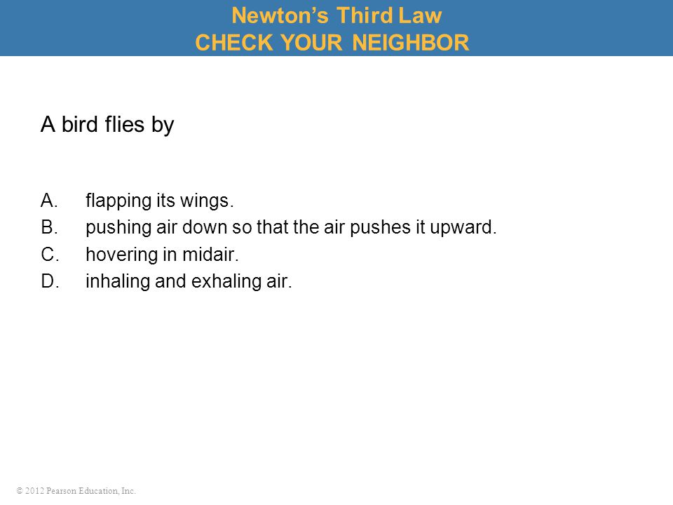 © 2012 Pearson Education, Inc. A bird flies by A.flapping its wings. B.pushing air down so that the air pushes it upward. C.hovering in midair. D.inha