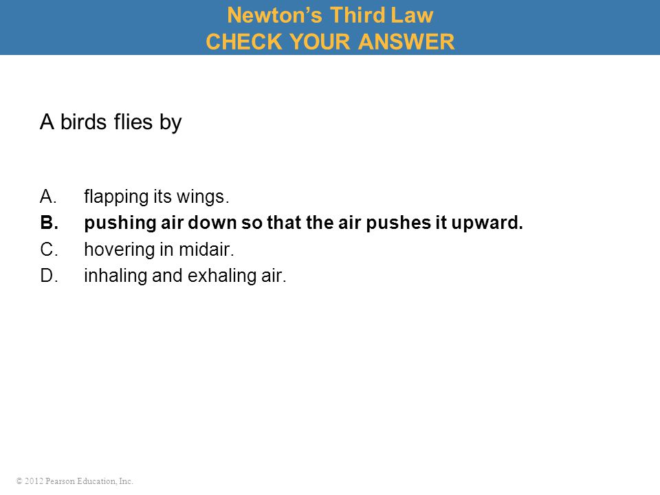 © 2012 Pearson Education, Inc. A birds flies by A.flapping its wings. B.pushing air down so that the air pushes it upward. C.hovering in midair. D.inh