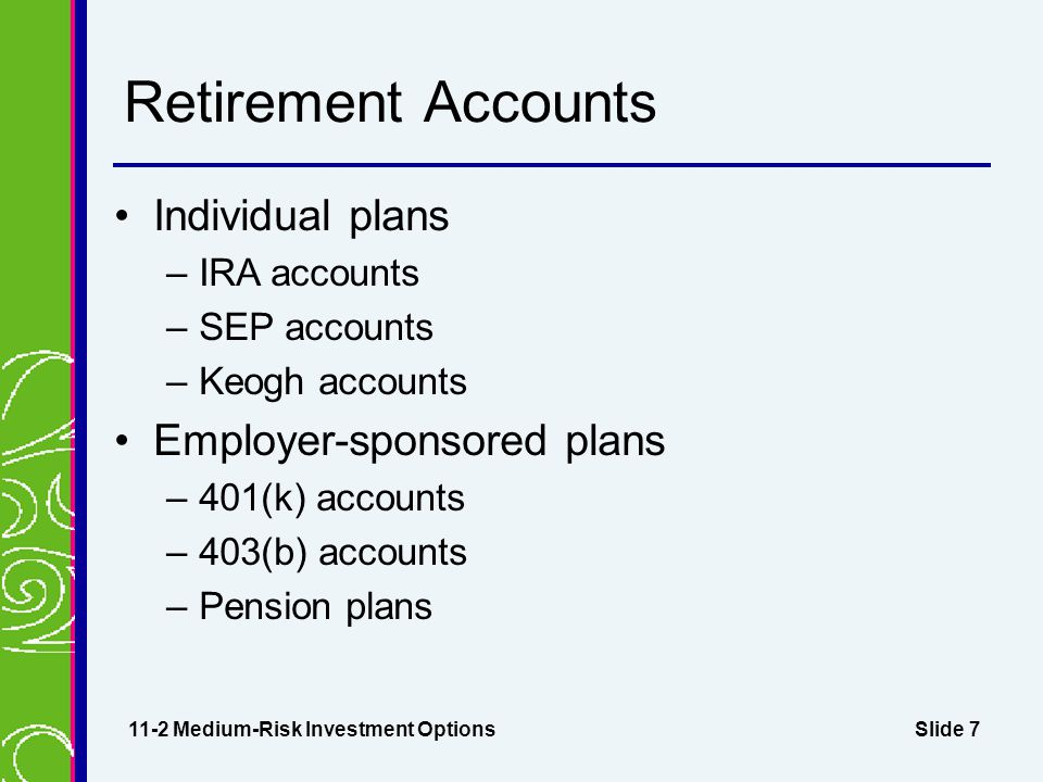 Slide 7 Retirement Accounts Individual plans –IRA accounts –SEP accounts –Keogh accounts Employer-sponsored plans –401(k) accounts –403(b) accounts –Pension plans 11-2 Medium-Risk Investment Options