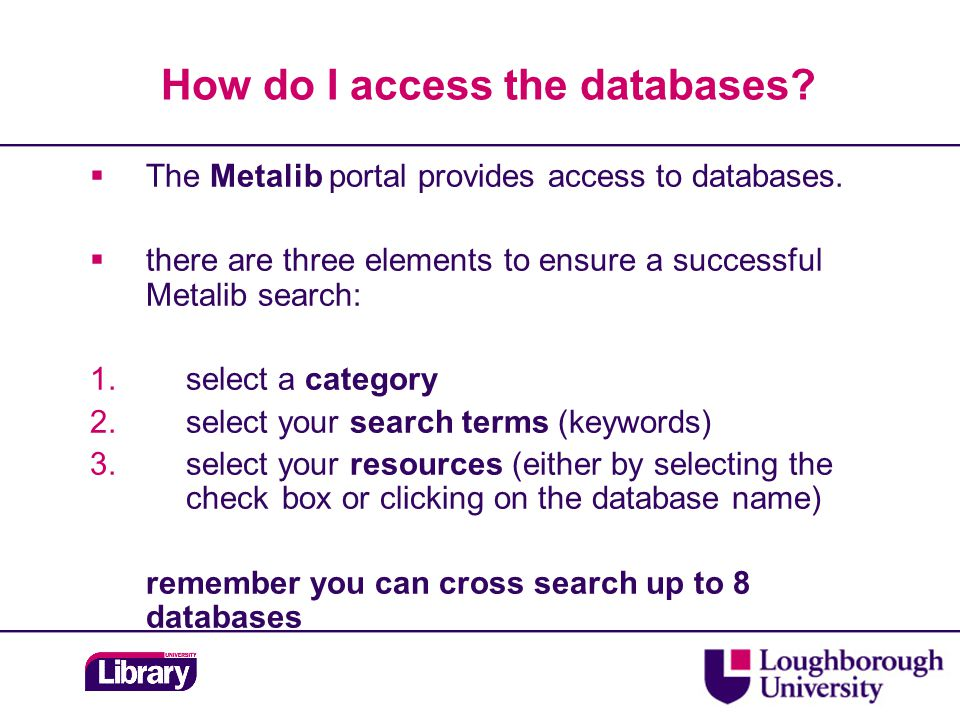 Locating the full-text A Metalib search will provide you with a list of results Click on the red SFX button for availability of the item.