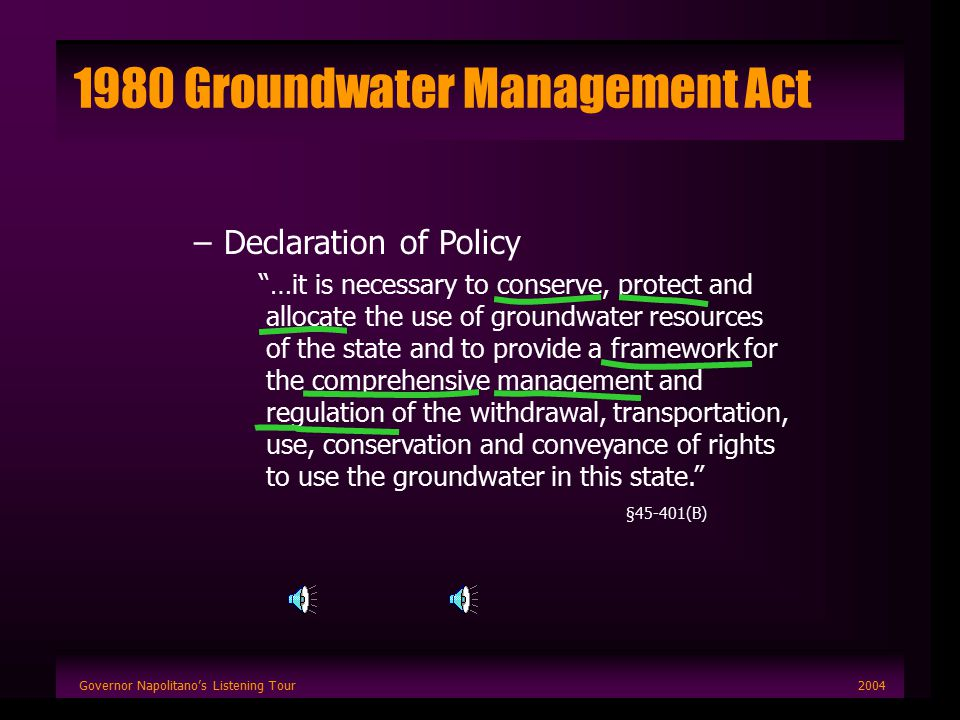Governor Napolitano's Listening Tour2004 1980 Groundwater Management Act –Declaration of Policy …it is necessary to conserve, protect and allocate the use of groundwater resources of the state and to provide a framework for the comprehensive management and regulation of the withdrawal, transportation, use, conservation and conveyance of rights to use the groundwater in this state. §45-401(B)