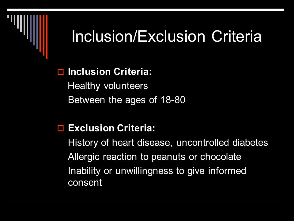 Inclusion/Exclusion Criteria  Inclusion Criteria: Healthy volunteers Between the ages of 18-80  Exclusion Criteria: History of heart disease, uncontrolled diabetes Allergic reaction to peanuts or chocolate Inability or unwillingness to give informed consent