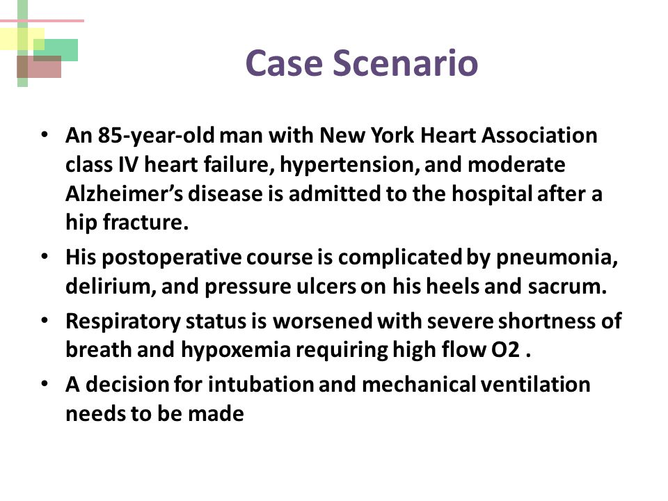Case Scenario An 85-year-old man with New York Heart Association class IV heart failure, hypertension, and moderate Alzheimer's disease is admitted to the hospital after a hip fracture.