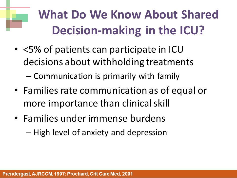 What Do We Know About Shared Decision-making in the ICU.