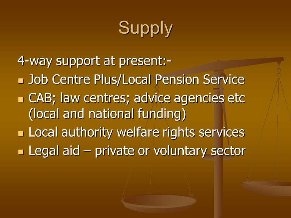 Supply 4-way support at present:- Job Centre Plus/Local Pension Service Job Centre Plus/Local Pension Service CAB; law centres; advice agencies etc (l