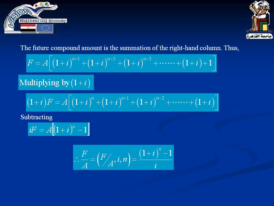 The future compound amount is the summation of the right-hand column. Thus, Subtracting