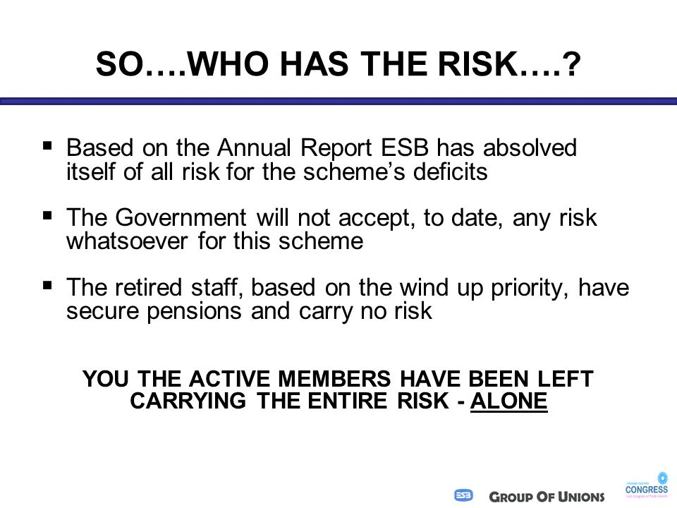 SO….WHO HAS THE RISK…..