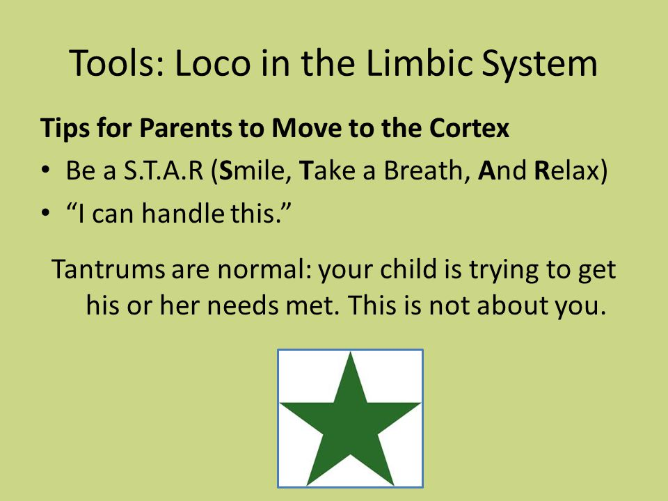 "Tools: Loco in the Limbic System Tips for Parents to Move to the Cortex Be a S.T.A.R (Smile, Take a Breath, And Relax) ""I can handle this."" Tantrums a"