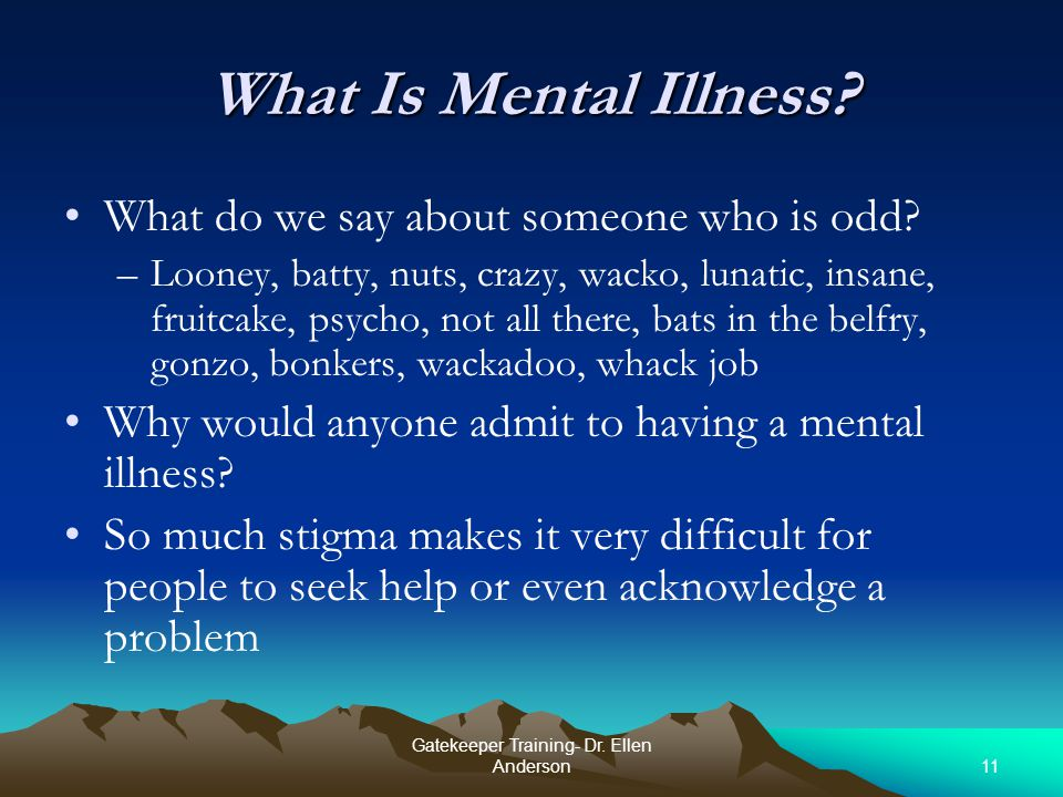 11 Gatekeeper Training- Dr. Ellen Anderson What Is Mental Illness.