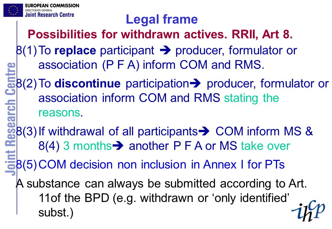 Legal frame Possibilities for withdrawn actives. RRII, Art 8.