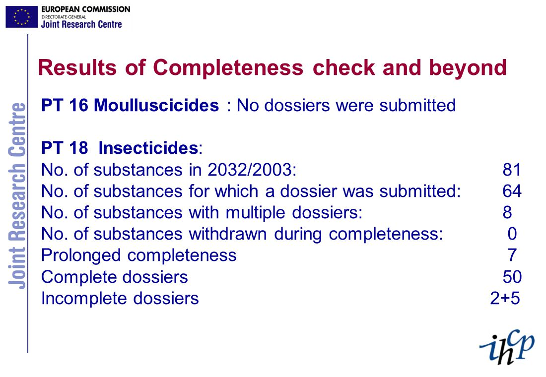 Results of Completeness check and beyond PT 16 Moulluscicides : No dossiers were submitted PT 18 Insecticides: No.