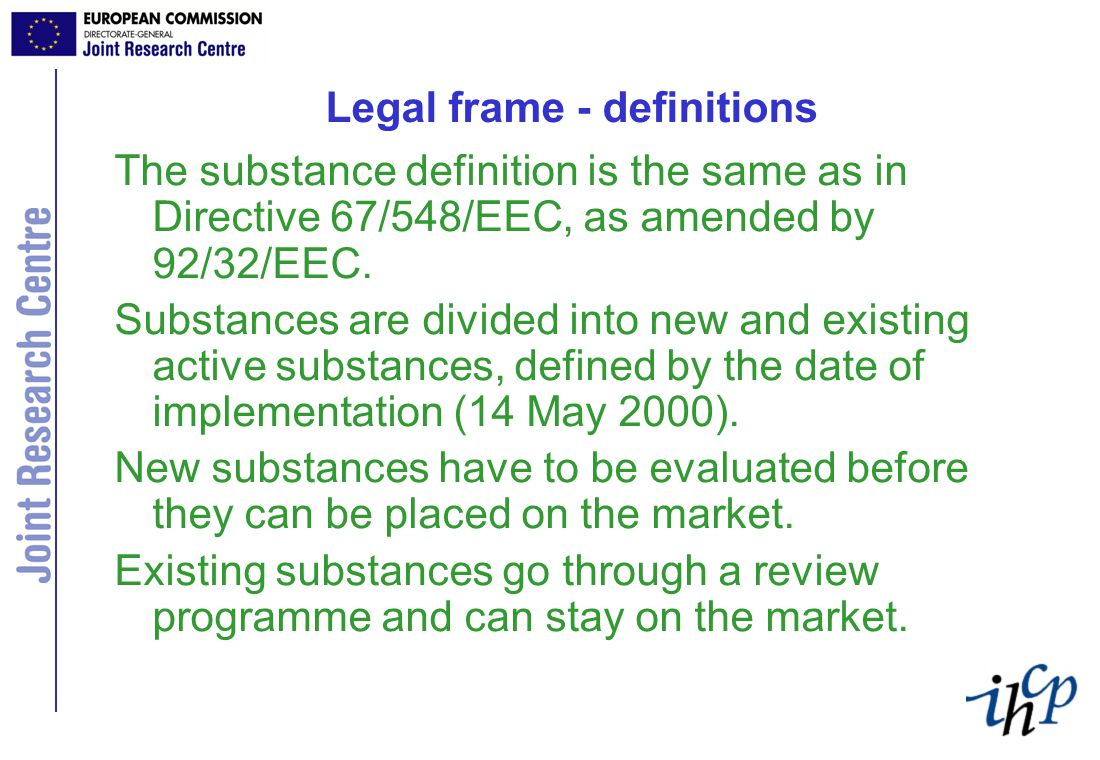 Legal frame Possibilities for withdrawn actives.RRII, Art 8.