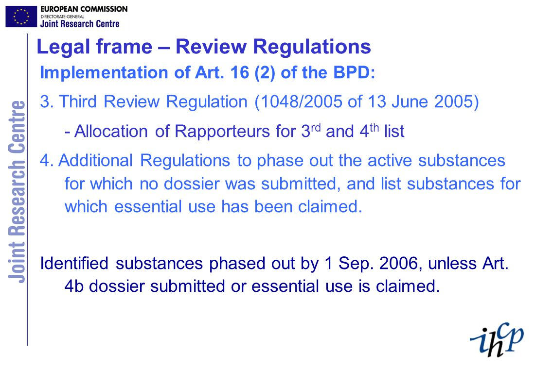 Art 1: Subject matter This Regulation lays down detailed rules for the implementation of the second phase of the programme of work for the systematic examination of all active substances already on the market on 14 May 2000 as active substances of biocidal products, hereinafter the review programme , referred to in Article 16(2) of Directive 98/8/EC.
