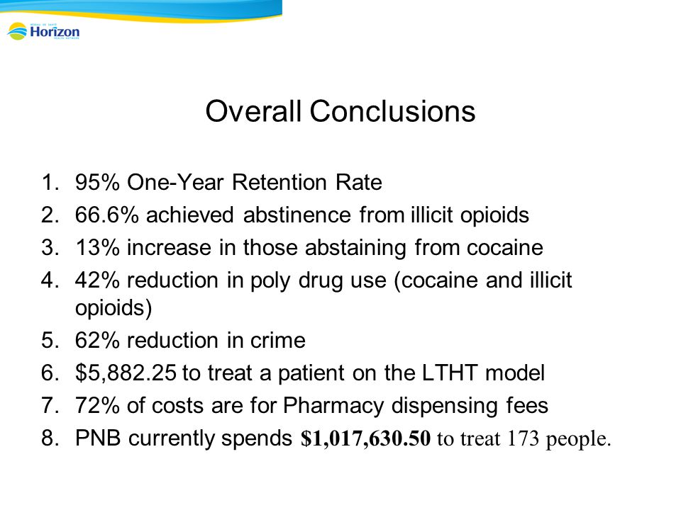 Overall Conclusions 1.95% One-Year Retention Rate 2.66.6% achieved abstinence from illicit opioids 3.13% increase in those abstaining from cocaine 4.42% reduction in poly drug use (cocaine and illicit opioids) 5.62% reduction in crime 6.$5,882.25 to treat a patient on the LTHT model 7.72% of costs are for Pharmacy dispensing fees 8.PNB currently spends $1,017,630.50 to treat 173 people.