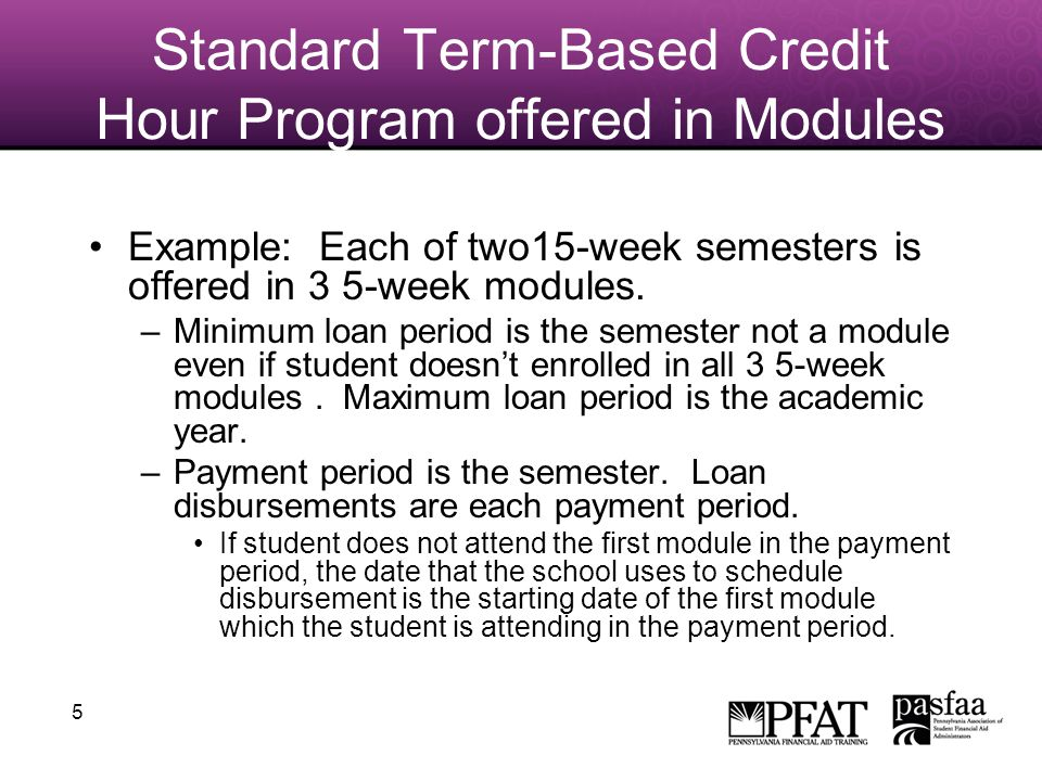 5 Standard Term-Based Credit Hour Program offered in Modules Example: Each of two15-week semesters is offered in 3 5-week modules.