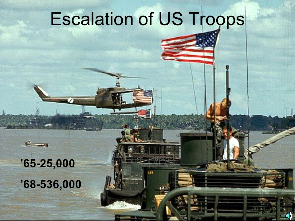 Escalation of US Troops '65-25,000 '68-536,000