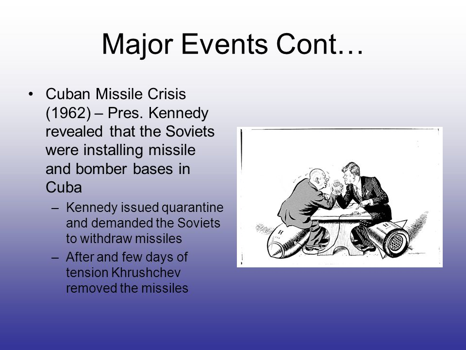 Major Events Cont… Cuban Missile Crisis (1962) – Pres. Kennedy revealed that the Soviets were installing missile and bomber bases in Cuba –Kennedy iss
