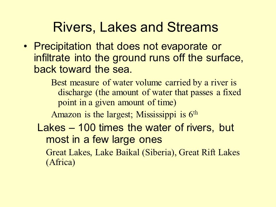 Rivers, Lakes and Streams Precipitation that does not evaporate or infiltrate into the ground runs off the surface, back toward the sea. Best measure