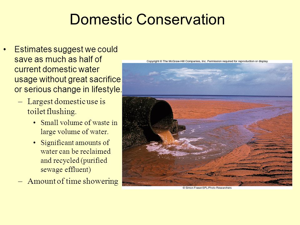 Domestic Conservation Estimates suggest we could save as much as half of current domestic water usage without great sacrifice or serious change in lif