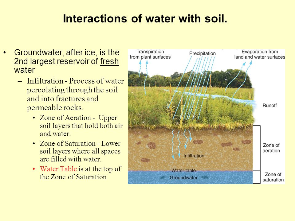 Groundwater, after ice, is the 2nd largest reservoir of fresh water –Infiltration - Process of water percolating through the soil and into fractures a