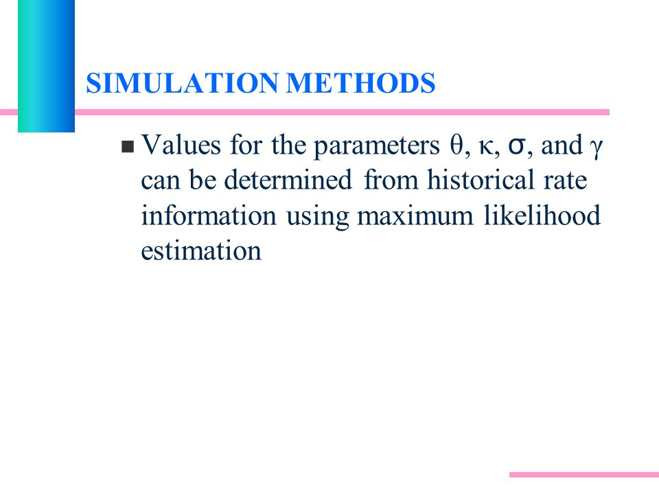 SIMULATION METHODS Values for the parameters θ, κ, σ, and γ can be determined from historical rate information using maximum likelihood estimation