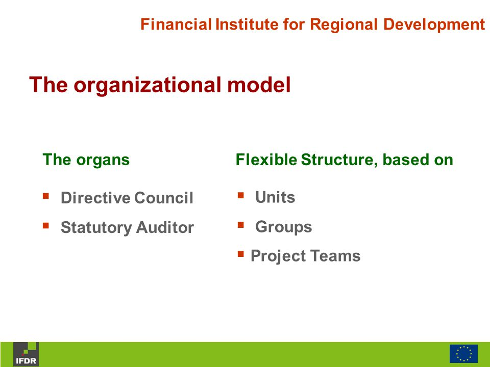 Financial Institute for Regional Development The organizational model The organs Flexible Structure, based on  Directive Council  Statutory Auditor