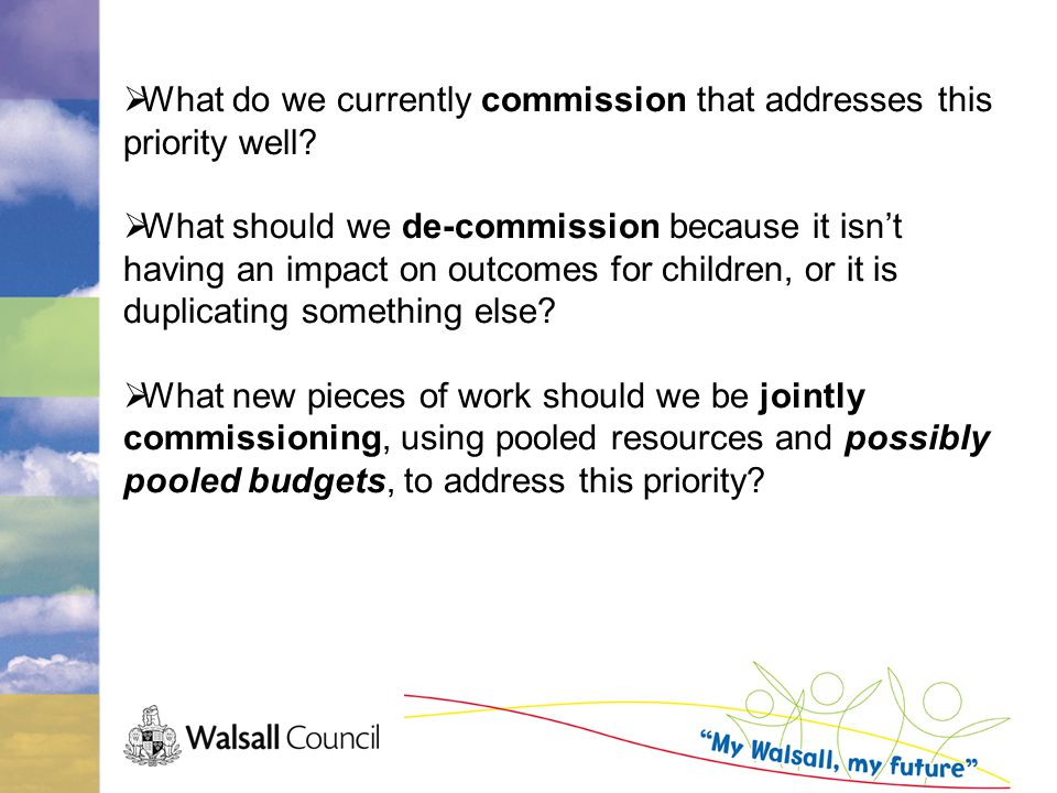  What do we currently commission that addresses this priority well.