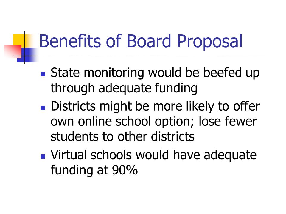 Benefits of Board Proposal State monitoring would be beefed up through adequate funding Districts might be more likely to offer own online school option; lose fewer students to other districts Virtual schools would have adequate funding at 90%