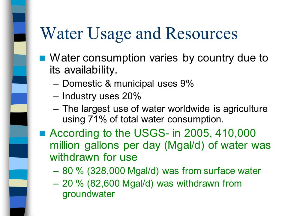 Water Usage and Resources Water consumption varies by country due to its availability. –Domestic & municipal uses 9% –Industry uses 20% –The largest u