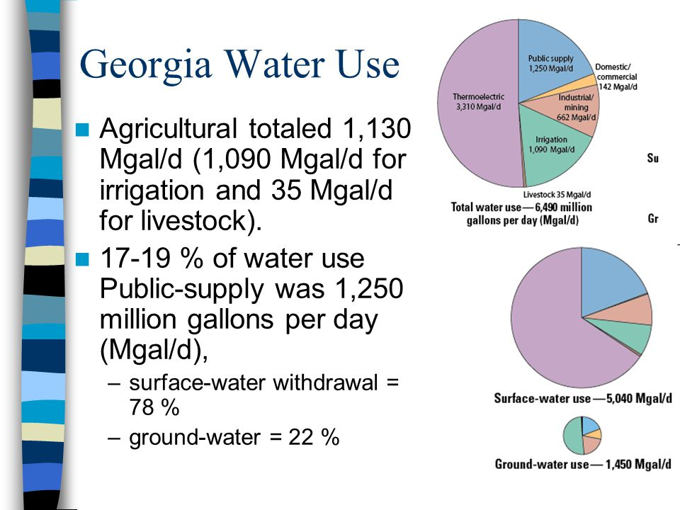 Georgia Water Use Agricultural totaled 1,130 Mgal/d (1,090 Mgal/d for irrigation and 35 Mgal/d for livestock). 17-19 % of water use Public-supply was