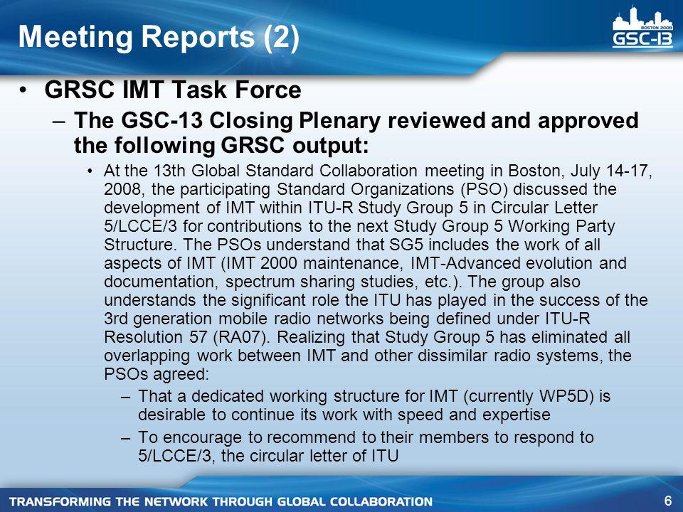 17 GSC-14 Meetings and Beyond* GSC-14 – Geneva (ITU); July 13-16, 2009 GSC-15 – China (CCSA) 2010 GSC-16 – Australia (ACIF) 2011 GSC-17 – Canada (ISACC) 2012 GSC-18 – Korea (TTA) 2013 then: –Europe (ITU) –China (CCSA) –USA (ATIS/TIA) –Europe (ETSI) –Japan (ARIB/TTC) *As agreed by the HoDs during the August 2005 HoD meeting