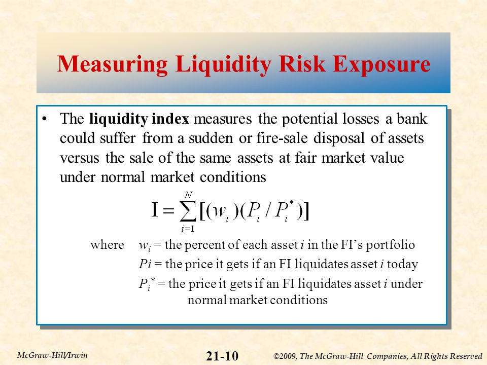 ©2009, The McGraw-Hill Companies, All Rights Reserved 21-10 McGraw-Hill/Irwin Measuring Liquidity Risk Exposure The liquidity index measures the potential losses a bank could suffer from a sudden or fire-sale disposal of assets versus the sale of the same assets at fair market value under normal market conditions wherew i = the percent of each asset i in the FI's portfolio Pi = the price it gets if an FI liquidates asset i today P i * = the price it gets if an FI liquidates asset i under normal market conditions The liquidity index measures the potential losses a bank could suffer from a sudden or fire-sale disposal of assets versus the sale of the same assets at fair market value under normal market conditions wherew i = the percent of each asset i in the FI's portfolio Pi = the price it gets if an FI liquidates asset i today P i * = the price it gets if an FI liquidates asset i under normal market conditions