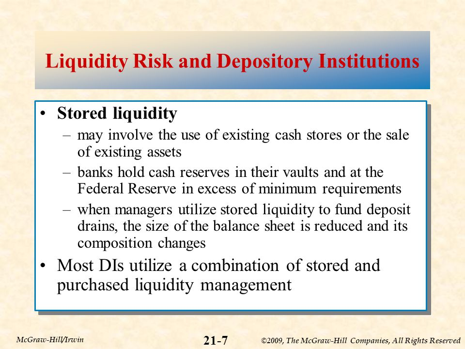 ©2009, The McGraw-Hill Companies, All Rights Reserved 21-7 McGraw-Hill/Irwin Liquidity Risk and Depository Institutions Stored liquidity –may involve the use of existing cash stores or the sale of existing assets –banks hold cash reserves in their vaults and at the Federal Reserve in excess of minimum requirements –when managers utilize stored liquidity to fund deposit drains, the size of the balance sheet is reduced and its composition changes Most DIs utilize a combination of stored and purchased liquidity management Stored liquidity –may involve the use of existing cash stores or the sale of existing assets –banks hold cash reserves in their vaults and at the Federal Reserve in excess of minimum requirements –when managers utilize stored liquidity to fund deposit drains, the size of the balance sheet is reduced and its composition changes Most DIs utilize a combination of stored and purchased liquidity management