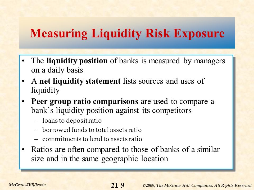 ©2009, The McGraw-Hill Companies, All Rights Reserved 21-9 McGraw-Hill/Irwin Measuring Liquidity Risk Exposure The liquidity position of banks is measured by managers on a daily basis A net liquidity statement lists sources and uses of liquidity Peer group ratio comparisons are used to compare a bank's liquidity position against its competitors –loans to deposit ratio –borrowed funds to total assets ratio –commitments to lend to assets ratio Ratios are often compared to those of banks of a similar size and in the same geographic location The liquidity position of banks is measured by managers on a daily basis A net liquidity statement lists sources and uses of liquidity Peer group ratio comparisons are used to compare a bank's liquidity position against its competitors –loans to deposit ratio –borrowed funds to total assets ratio –commitments to lend to assets ratio Ratios are often compared to those of banks of a similar size and in the same geographic location