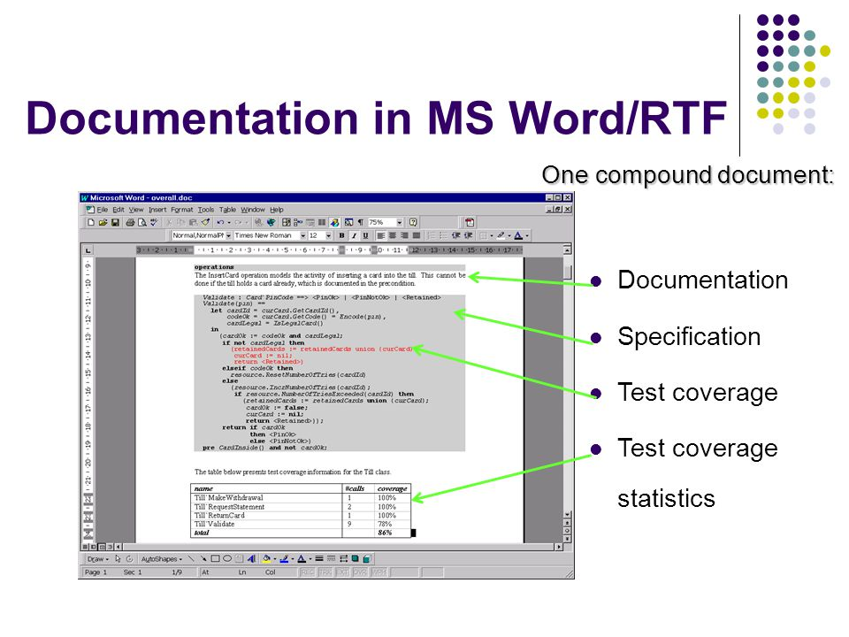 Documentation in MS Word/RTF One compound document: Documentation Specification Test coverage Test coverage statistics
