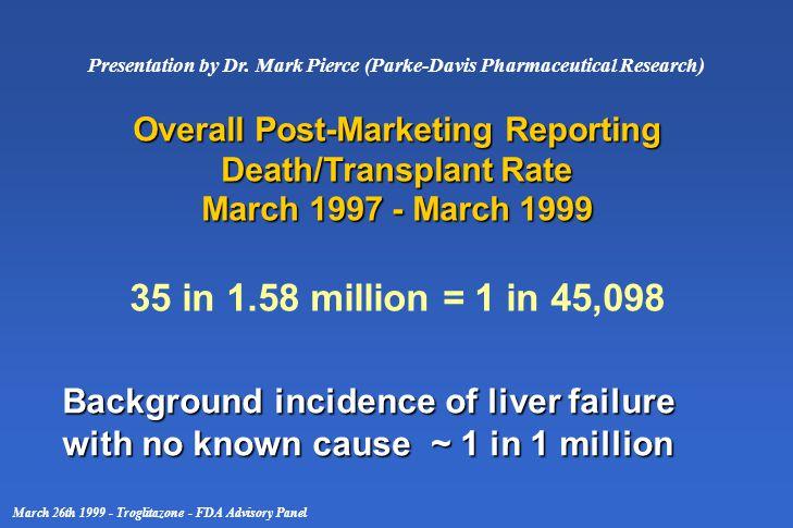Presentation by Dr. Mark Pierce (Parke-Davis Pharmaceutical Research) March 26th 1999 - Troglitazone - FDA Advisory Panel Overall Post-Marketing Repor