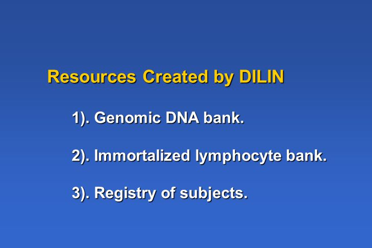 Resources Created by DILIN 1). Genomic DNA bank. 2).