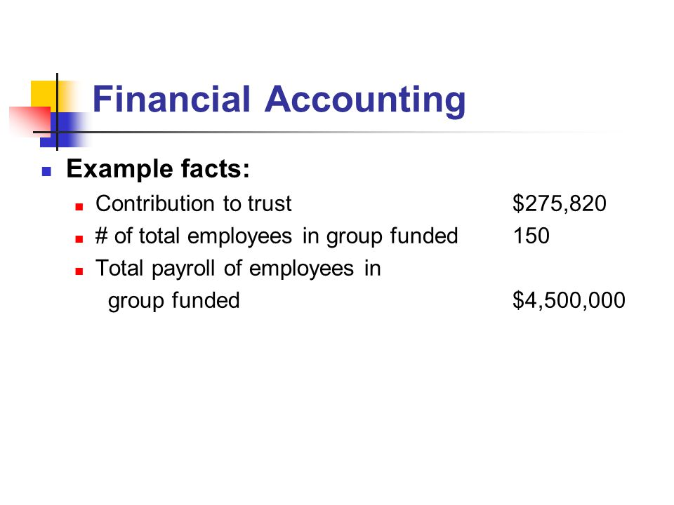 Financial Accounting Example facts: Contribution to trust$275,820 # of total employees in group funded150 Total payroll of employees in group funded$4,500,000