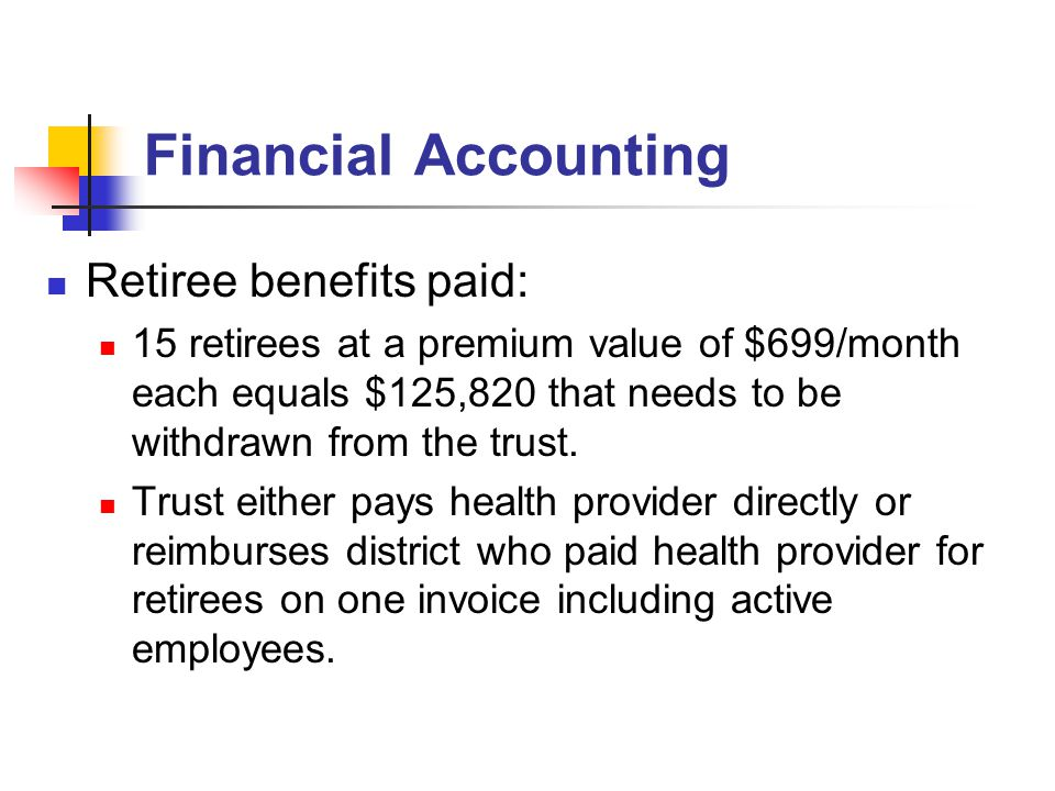 Financial Accounting Retiree benefits paid: 15 retirees at a premium value of $699/month each equals $125,820 that needs to be withdrawn from the trust.