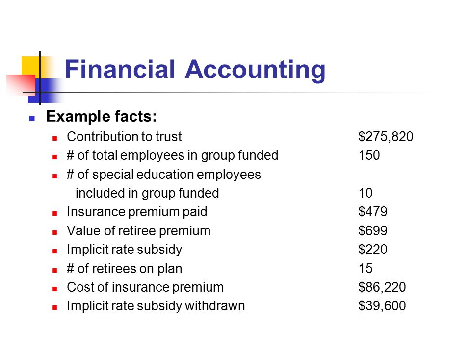 Financial Accounting Example facts: Contribution to trust$275,820 # of total employees in group funded150 # of special education employees included in group funded10 Insurance premium paid$479 Value of retiree premium$699 Implicit rate subsidy$220 # of retirees on plan15 Cost of insurance premium$86,220 Implicit rate subsidy withdrawn$39,600